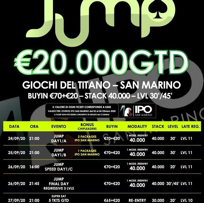 """Jump San Marino, un """"salto"""" a IPO 888Poker con 8 ticket in palio per i players nella Gt room"""